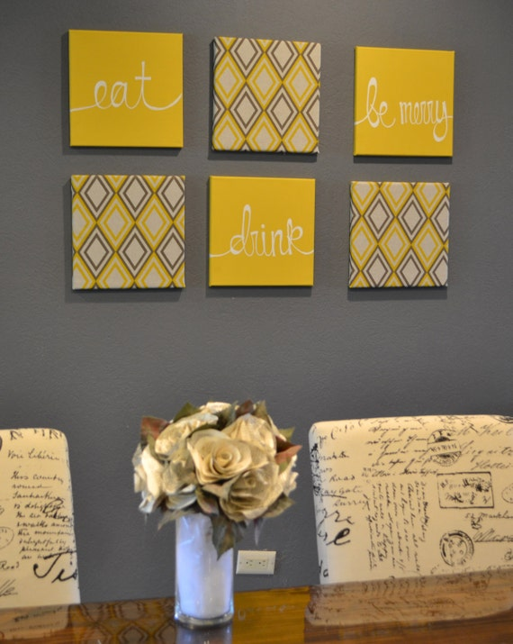 Yellow Black And Gray Wall Decor : Items similar to eat drink be merry yellow and gray wall