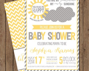 You Are My Sunshine! Baby Shower Invite: Digital File Printable