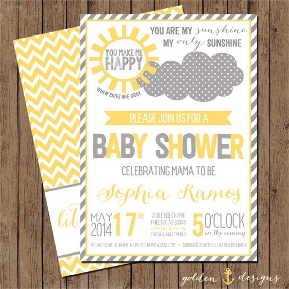 you are my sunshine baby shower invite digital file printable by