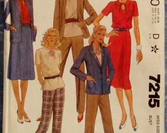 Vintage 1980s Misses Jacket, Top,Skirt and Pants Size 22 Sewing Pattern Made-For-You McCall's 7215