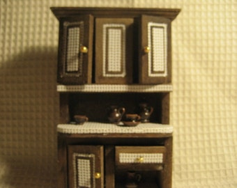 OOAK Refinished hutch with pottery.