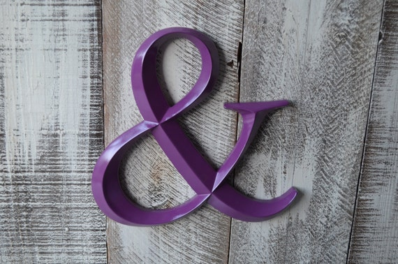 Ampersand / Purple Wedding Decor / Photo Booth Prop / Wedding Sign Home Decor / Purple Bedroom Decor / Wall Hanging / Fireplace Mantle Decor