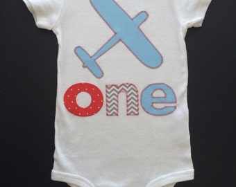 Airplane One First Birthday Shirt - Baby or Toddler Happy Birthday T-shirt -   Great outfit for photos &  First Birthday