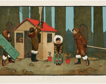 """John Hassall : """"Peter Pan - The Building of the House"""" (1907) - Giclee Fine Art Print"""