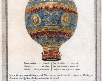 "Etching of the Montgolfier Brothers' Hot Air Balloon, or ""Aerostatic Globe"" (1786) - Giclee Fine Art Print"