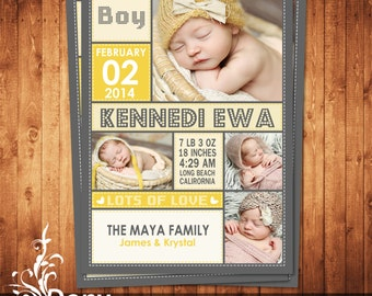 BUY 1 GET 1 FREE Birth Announcement - Neutral Baby Announcement Card - Photoshop Template Instant Download: cardcode-155