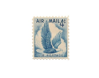 Set of 10  /////  1954 Vintage US Air Mail Stamps Ready to Use