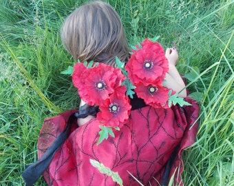 Red Dress Up Fairy Wings Poppy Flower Child size Fairy Wings, Fairy Wings for Children, Red Butterfly Wings, Fairy Costume, Flower Fairy