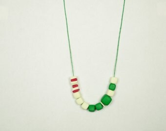 Polymer clay necklace Geometric Cube necklace Beadwork necklace Minimalist necklace Green white red necklace Spring necklace Metal free