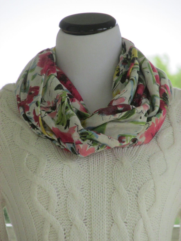 floral jersey infinity scarf jersey knit by hannahshomestead2