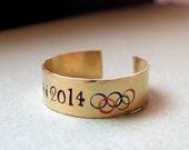 Sochi 2014 Olympic Ring. Adjustable Personalized Gift. Gold Engraved Jewelry