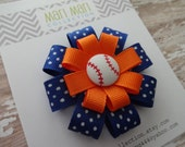 Baseball Orange Blue Hair Bow-Detroit Tigers Hair Bow-Baseball Hair Clip-Baseball Hair Accessory-Detroit Tigers Bow-Tigers Baseball-Baseball