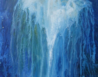 "Waterfall painting Melted Crayon Art Original Painting Mixed Media painting Blue Green and White Waterfall artwork 16""x20""  READY TO HANG"