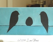 Eggspecting - Birds and Egg on a Wire - Original Acrylic Painting - Urban, Modern, Contemporary, Whimsical