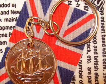 1941 Ha'penny Old Half Penny English Coin Keyring Key Chain Fob King George VI