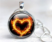 Flame Necklace, Fire Flame Heart Jewelry - Wearable Art Glass Pendant Necklace, Picture Photo, Fire heart hot, orange, black, Fantasy Art