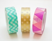 Washi Tape Set - Mint, Pink & Gold Masking Tape - 30 metres total Washi Tapes