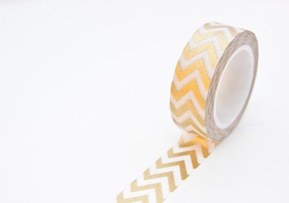 Washi Tape oro  metálico Chevron Masking por SwanstonStSupplies