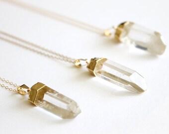 Quartz Point Necklace - 14k Gold Necklace - Raw Quartz - Crystal Necklace - Clear Quartz - Healing Crystal - Raw Crystal - Crystal Necklace