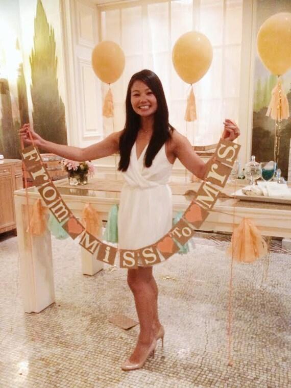 bridal shower banner from miss to mrs bridal shower decor. Black Bedroom Furniture Sets. Home Design Ideas
