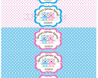 Owl Water Bottle Label- Water Bottle Label Gender Reveal- Owl Baby Shower- Gender Reveal Water Bottle Label- Owl Gender Reveal