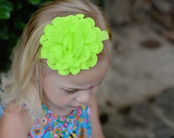 Neon Yellow Large Flower Shabby Chic Chiffon Headband Preemie to Adult