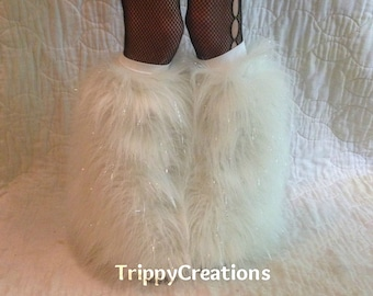 Fluffies white glitter fluffie leg warmers. Great for raves, festivals, and gogo dancers.