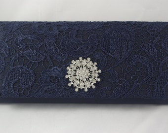 Navy Blue Clutch Purse, Navy Blue Lace Bridal Clutch, Navy Blue Wedding Handbag, Navy Bridesmaid Personalized Clutch Bag, Vintage Inspired