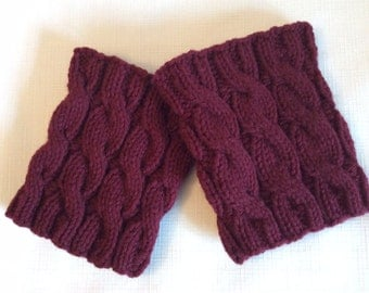 Boot Cuffs, Cabled Boot Cuffs, Hand Knit Boot Cuffs, Maroon, Wine