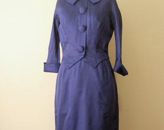 Vintage 1950s Navy Royal Blue Peter Pan Mad Men Wiggle Dress