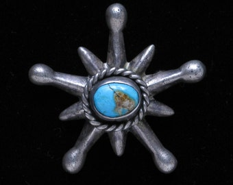 Vintage Southwestern pin-back Brooch, Silver with Turquoise