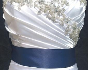 Navy Blue Sash- 1.5 or 2.5 Inch Simple Satin Sash- Wedding Belt- Bridal Sash Ready to Ship