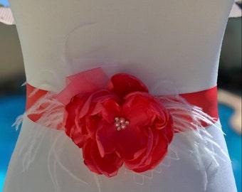 Coral Flower Bridal Sash- Satin Flower Sash-  Wedding Belt- Bridesmaid Sash