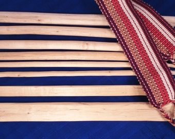 18 Inch Wooden Backstrap Loom Hand-carved, Fair Trade Includes Backstrap Belt, Weaving Rods, Sticks (currently out of stock until Sept)
