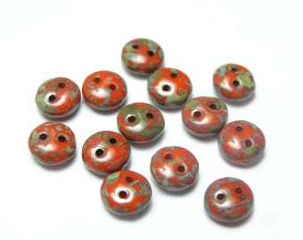 2 Hole 6mm Glass Lentils Coral Picasso  50 Pieces
