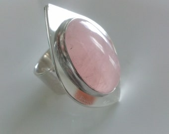 Oval, Light Colored Rose Quartz, Love stone  Cocktail Ring Mounted On A Sterling Silver Base,Handmade  Fashion statement