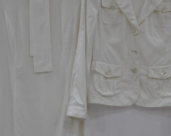 Vintage RENA LANGE white suit , women's dress , designer suit ...