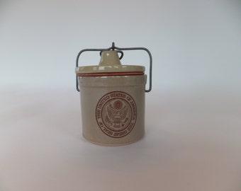 Vintage Stoneware U.S Seal Cheese Crock,Butter Crock,Pottery,Ceramic,Appetizer Bowl,Flower Pot,Jelly Jar,Mid Century Modern Canning Jar