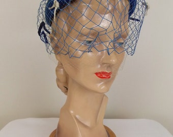 1950's 1960's Blue Felted Wool Hat with Netting and Bows  #0782014A