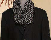 Hipster Warm Infinity cowl Fall and Winter  Black and gray Zig Zag infinity scarf