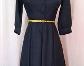 1950s Wynn Parker navy blue rayon shirtwaist dress