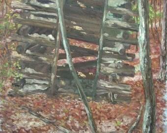 Original Landscape Oil Painting-Log Cabin Shed