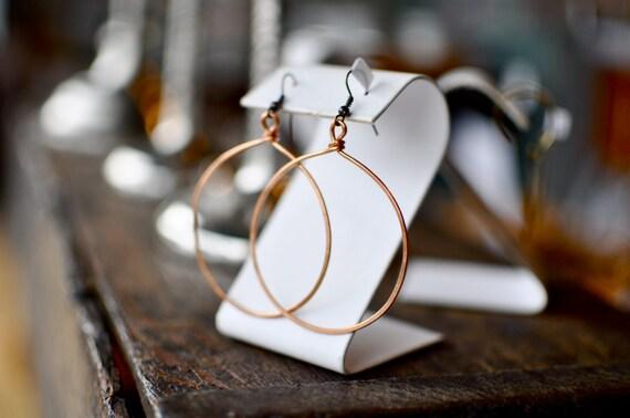 """Hoop Earrings 2.5"""" hammered copper hoops on antiqued copper earwires"""