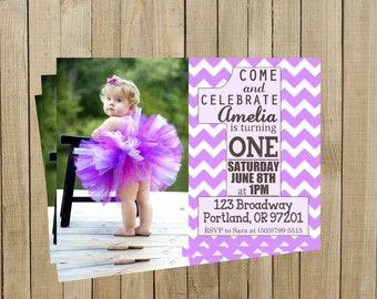 Trendy Lavender Chevron First Birthday Invitation, One, Girl, Printable, Custom Digital File, Printable