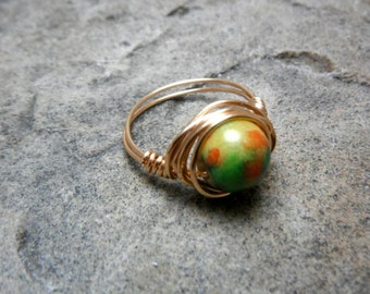 Chinese Jade Ring, Copper Ring, Wire Wrapped Ring, Jade Stone Ring, Jade Wire Wrapped Ring, Wire Wrapped Jewelry Handmade, Green Jade Ring