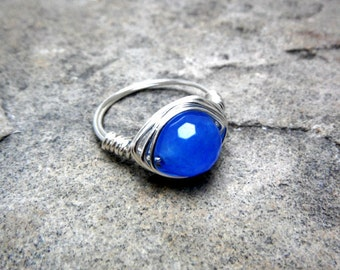 Blue Topaz Ring, Dark Blue Ring, Wire Wrapped Ring, Blue Stone Ring, Wire Wrapped Jewelry Handmade