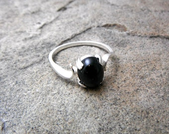 Black Star Diopside Ring, Black Ring, Fine Jewelry, Black Gemstone Ring, Sterling Silver Ring, Black Stone Ring