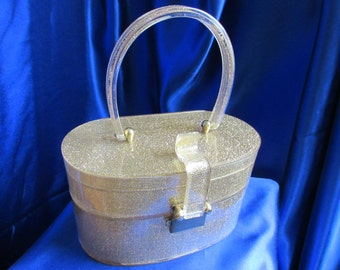 Vintage Wilardy GOLD Lame Double Compartment Lucite Purse Gold Sparkles  - Stunning  B23