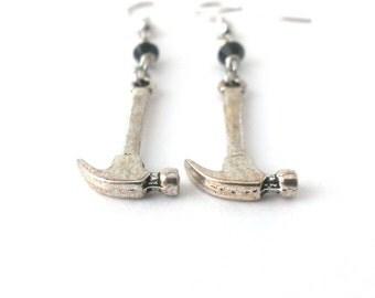 Hammer Earrings, Miniature Tool Earrings, Hammer Charm Earrings, Tool Charm Earrings - Available as Hypoallergenic and Clip-on Earrings
