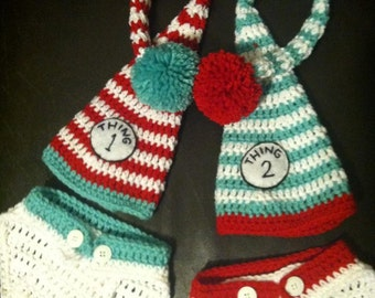 Thing 1 and Thing 2 Inspired Crochet Set, Newborn to XXL Adult Sizes